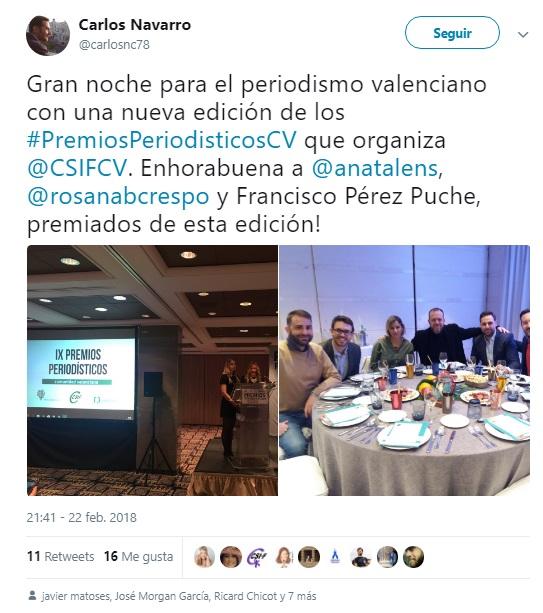 Premios periodísticos de la Comunidad Valenciana Mas retuits